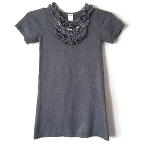Gymboree Dress Sweater gray crystals ruffles 6